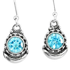 2.62cts natural blue topaz 925 sterling silver dangle moon earrings r89250
