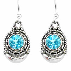 2.62cts natural blue topaz 925 sterling silver dangle moon earrings r89269