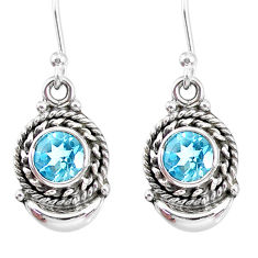2.68cts natural blue topaz 925 sterling silver dangle moon earrings r89281
