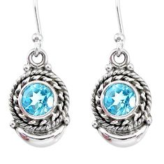2.34cts natural blue topaz 925 sterling silver dangle moon earrings r89285