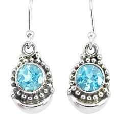 2.34cts natural blue topaz 925 sterling silver dangle moon earrings r89342
