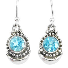 2.36cts natural blue topaz 925 sterling silver dangle moon earrings r89344