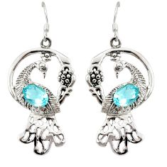 4.38cts natural blue topaz 925 sterling silver dangle peacock earrings d40258