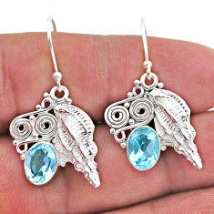 4.12cts natural blue topaz 925 sterling silver dangle seashell earrings t47037