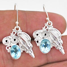 4.67cts natural blue topaz 925 sterling silver dangle seashell earrings t47062