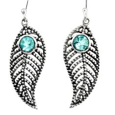 1.77cts natural blue topaz 925 sterling silver deltoid leaf earrings d40148
