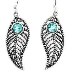 1.70cts natural blue topaz 925 sterling silver deltoid leaf earrings d40150
