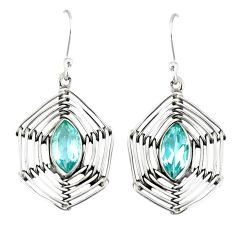 5.52cts natural blue topaz 925 sterling silver earrings jewelry r77781