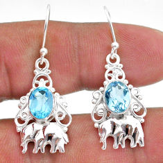 4.26cts natural blue topaz 925 sterling silver elephant earrings jewelry t47035
