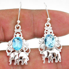4.26cts natural blue topaz 925 sterling silver elephant earrings jewelry t47036