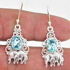 3.42cts natural blue topaz 925 sterling silver elephant earrings jewelry t47079