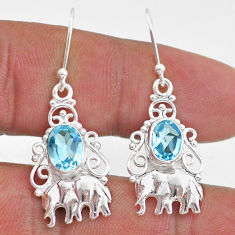 4.20cts natural blue topaz 925 sterling silver elephant earrings jewelry t47080