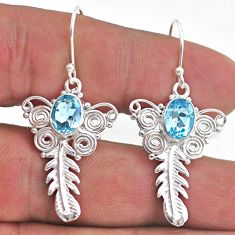 4.05cts natural blue topaz 925 sterling silver feather charm earrings t47039