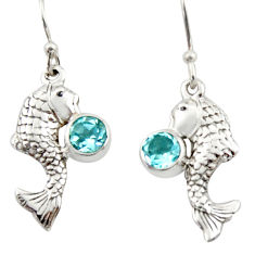2.14cts natural blue topaz 925 sterling silver fish earrings jewelry d46799