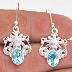 4.40cts natural blue topaz 925 sterling silver flower earrings jewelry t47023