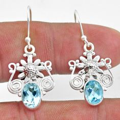 4.21cts natural blue topaz 925 sterling silver flower earrings jewelry t47069