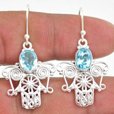4.26cts natural blue topaz 925 sterling silver hand of god hamsa earrings t47021