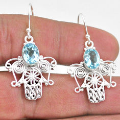 4.19cts natural blue topaz 925 sterling silver hand of god hamsa earrings t47066