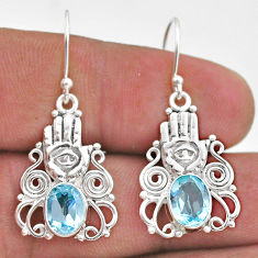 4.21cts natural blue topaz 925 sterling silver hand of god hamsa earrings t47077