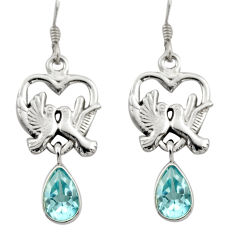 5.08cts natural blue topaz 925 sterling silver love birds earrings d46906