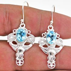 4.38cts natural blue topaz 925 sterling silver owl earrings jewelry t47026
