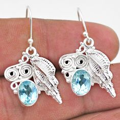 4.66cts natural blue topaz 925 sterling silver seashell earrings jewelry t47065