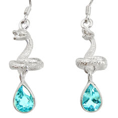 4.53cts natural blue topaz 925 sterling silver snake earrings jewelry d40245