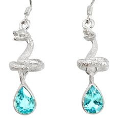Clearance Sale- 4.68cts natural blue topaz 925 sterling silver snake earrings jewelry d40246