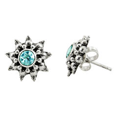 1.63cts natural blue topaz 925 sterling silver stud earrings jewelry r22786