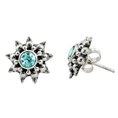 1.63cts natural blue topaz 925 sterling silver stud earrings jewelry r22788