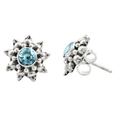 1.62cts natural blue topaz 925 sterling silver stud earrings jewelry r22805