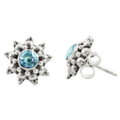 1.64cts natural blue topaz 925 sterling silver stud earrings jewelry r22807