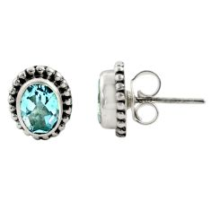 3.17cts natural blue topaz 925 sterling silver stud earrings jewelry r22825