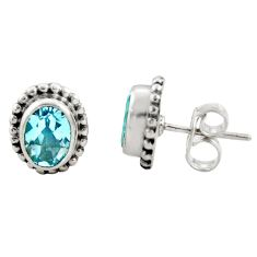 3.03cts natural blue topaz 925 sterling silver stud earrings jewelry r22856