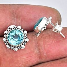 5.92cts natural blue topaz 925 sterling silver stud earrings jewelry r55338