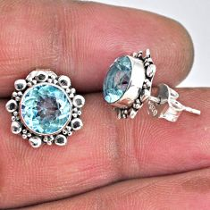 5.92cts natural blue topaz 925 sterling silver stud earrings jewelry r55339