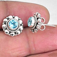 1.74cts natural blue topaz 925 sterling silver stud earrings jewelry r59565