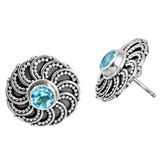 1.71cts natural blue topaz 925 sterling silver stud earrings jewelry r59703