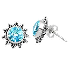 4.73cts natural blue topaz 925 sterling silver stud earrings jewelry r67001