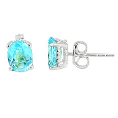 3.72cts natural blue topaz 925 sterling silver stud earrings jewelry r77050