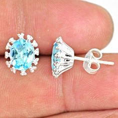 4.24cts natural blue topaz 925 sterling silver handmade stud earrings r82841