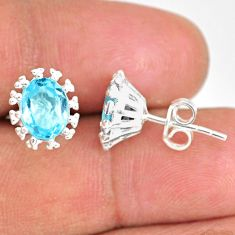 4.22cts natural blue topaz 925 sterling silver handmade stud earrings r82870