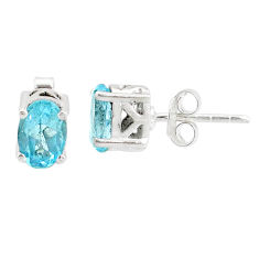 3.40cts natural blue topaz 925 sterling silver stud earrings jewelry r87407
