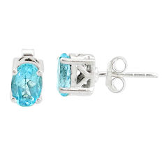 3.35cts natural blue topaz 925 sterling silver stud earrings jewelry r87409