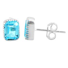 3.25cts natural blue topaz 925 sterling silver stud earrings jewelry t22259