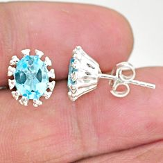 4.22cts natural blue topaz 925 sterling silver stud earrings jewelry t4550