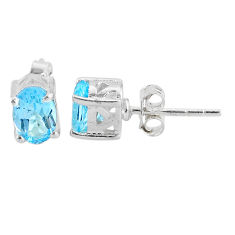3.39cts natural blue topaz 925 sterling silver stud earrings jewelry t4869