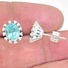 3.72cts natural blue topaz 925 sterling silver stud earrings jewelry t9101
