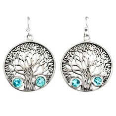 2.60cts natural blue topaz 925 sterling silver tree of life earrings r33068