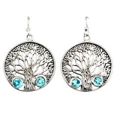 2.59cts natural blue topaz 925 sterling silver tree of life earrings r33074